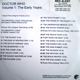 Doctor Who Vol.1 the early years original soundtrack