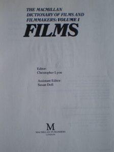 Macmillan Dictionary of Films and Filmmakers: Films vol. 1 original soundtrack