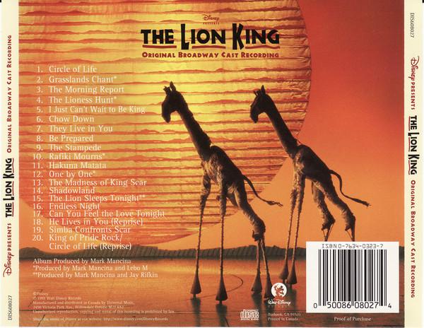 lion king  original broadway cast