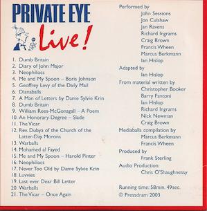Private Eye: Live! original soundtrack