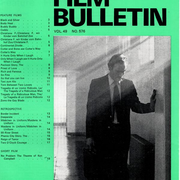 Monthly Film Bulletin Vol.49 No.576 January 1982